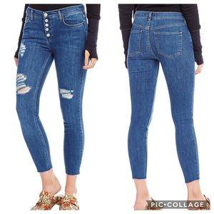 Free People Destroyed Reagan  Skinny Jeans Sz 24